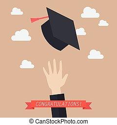 absolwent, wyrzucanie, kapelusze, skala, powietrze, ręka