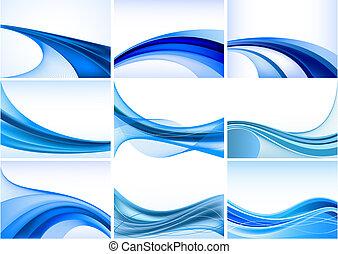 abstrakcyjny, błękitne tło, komplet, wektor