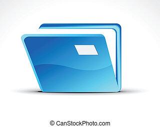 abstrakcyjny, błękitny, skoroszyt, ikona, wektor