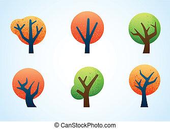 abstrakcyjny, barwny, drzewa