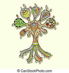abstrakcyjny, drzewo, ilustracja, projektować, upiększenia, twój