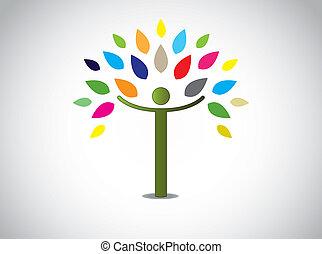 abstrakcyjny, drzewo, liście, barwny, szczęśliwy