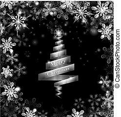 abstrakcyjny, drzewo, srebro, wstążka, boże narodzenie