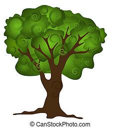 abstrakcyjny, drzewo, zielony