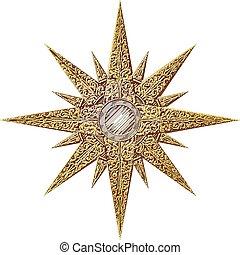 abstrakcyjny, gwiazda, złoty, ilustracja