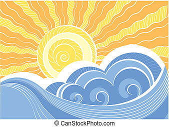 abstrakcyjny, ilustracja, wektor, krajobraz, morze, waves.