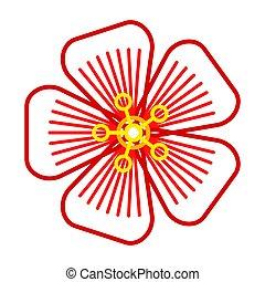 abstrakcyjny, kontur, kwiat