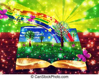abstrakcyjny, książka, magia