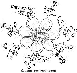 abstrakcyjny, kwiat, kontur