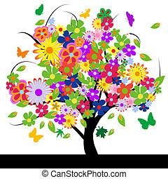abstrakcyjny, kwiaty, drzewo
