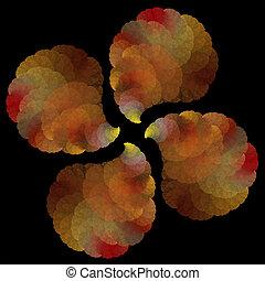 abstrakcyjny, liście, sztuka, obiekt, fractal