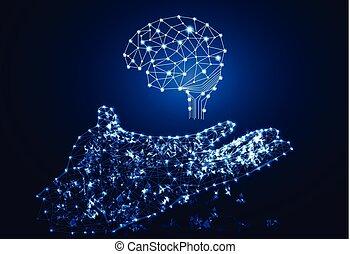 abstrakcyjny, mózg, cześć, ręka, cyfrowy, tech, tło, ogniwo, pojęcie, technologia