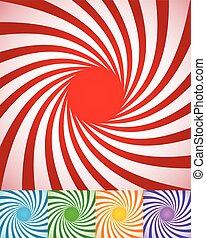 abstrakcyjny, obracający, lines., tła, spirally, promieniowy, kręcił