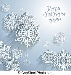 abstrakcyjny, płatki śniegu, 3d