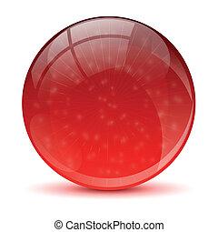 abstrakcyjny, piłka, czerwony, ikona