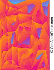 abstrakcyjny, pomarańcza, błękitne tło, polygonal