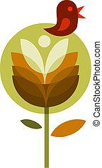 abstrakcyjny, ptak, ilustracja, wektor, -1, kwiat