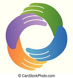 abstrakcyjny, ręka, koło, dookoła