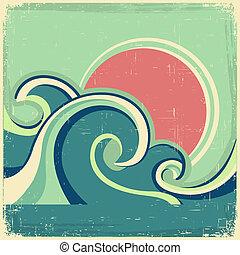 abstrakcyjny, stary, słońce, morze, fale, poster., wektor, motyw morski, afisz, rocznik wina