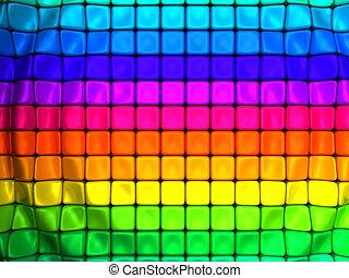 abstrakcyjny, sześcian, barwny, tło, machać