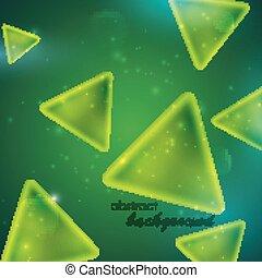 abstrakcyjny, tło, modeluje, zielony triangel