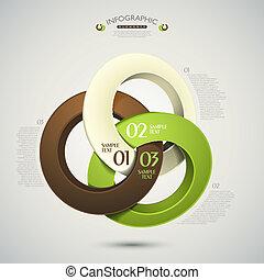 abstrakcyjny, wektor, dzwoni, 3d, infographics
