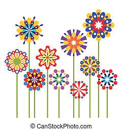 abstrakcyjny, wektor, kwiaty, barwny