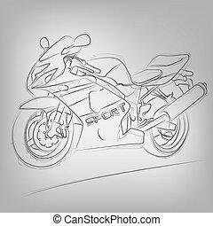 abstrakcyjny, wektor, motocykl, ilustracja, sketched