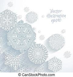 abstrakcyjny, wektor, płatki śniegu, 3d