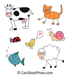 abstrakcyjny, wektor, zwierzęta, rysunek