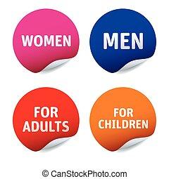 adults, komplet, kobiety, mężczyźni, wektor, majchry, dzieci