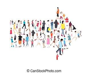 adults, komplet, ludzie., ilustracja, wektor, dzieci, seniors.