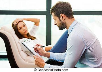 advice., głowa, posiedzenie, zamknięcie, dzierżawa, pisanie, wymagania, ona, ręka, młody, krzesło, jego, jej, ekspert, udaremniony, znowu, kobieta, coś, człowiek, clipboard