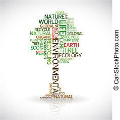 afisz, abstrakcyjny, ekologia, -, drzewo