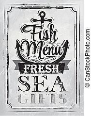 afisz, fish, menu, węgiel
