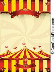 afisz, górny, cyrk, czerwony żółty