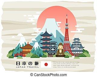 afisz, japonia, pociągający, podróż