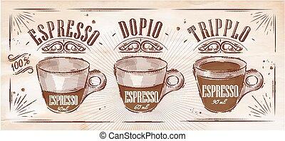 afisz, kraft, espresso