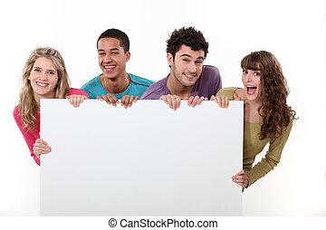 afisz, przyjaciele, grupa, dzierżawa, czysty