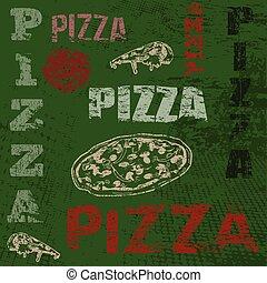 afisz, retro, pizza