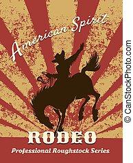 afisz, rodeo, retro