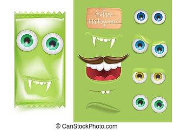 afisz, twórca, halloween, smutny, emoji, karta, lotnik, strzyga, media, blog, treat., uśmiech, paragraf, promocja, potwór, handel, zęby, laught, ilustracja, frankenstein., powitanie, cukierek, twarz, podstęp, wektor, konstruktor, ad, albo, towarzyski