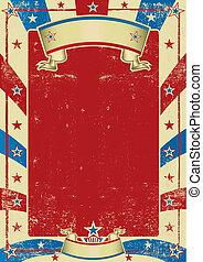 afisz, ułożyć, używany, amerykanka, czerwony
