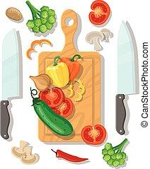 afisz, warzywa, gotowanie, cięcie deska, karta