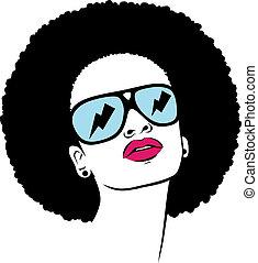 afro, kobieta, sunglasses