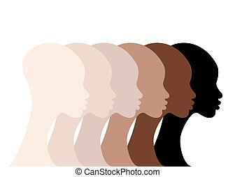 afro, twarze, czarnoskóry, odizolowany, prąd, profil, portret, colors., białe tło, różny, piękno, skin., skóra, wektor, kobiety, woman., sylwetka, atmosfera, afrykanin, rozmaitość, pojęcie