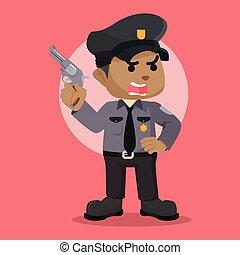 afrykanin, policja, armata, dzierżawa, oficer