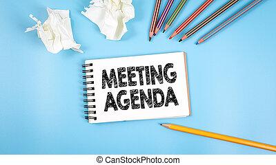 agenda., spotkanie, handlowy