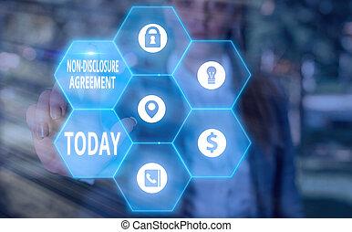 agreement., pisanie, prawny, information., tekst, ujawnienie, nie, treść, poufny, tworzywo, pojęcie, pismo, albo, kontrakt