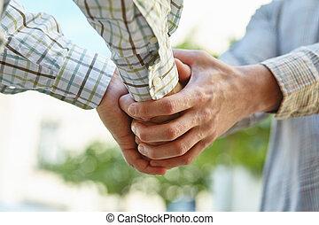 agreement., zrobienie, siła robocza, potrząsanie, businesspeople